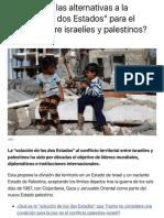 """¿Cuáles son las alternativas a la """"solución de dos Estados"""" para el conflicto entre israelíes y pale"""