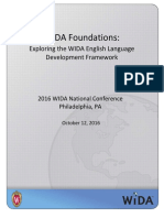 WIDA-Foundations Exploring the WIDA English Language Development Framework ParticipantPacket