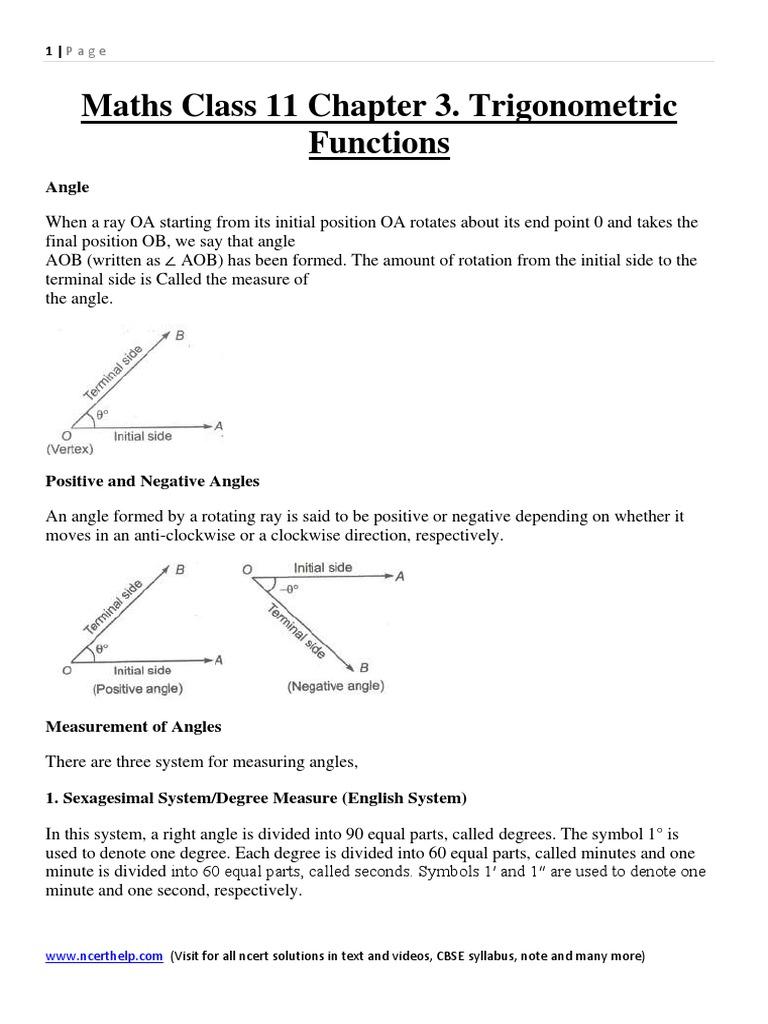 All formula and notes for trigonometry class 11 chapter 3 all formula and notes for trigonometry class 11 chapter 3 trigonometric functionspdf biocorpaavc
