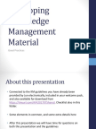 Developing Knowledge Management Material (Good Practices)