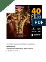 40th Elche International Independent Film Festival. Official Section. Mobile Film Maker