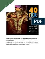 40 Festival Internacional de Cine Independiente de Elche. Sección Oficial. Ficción.