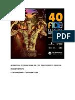 40 Festival Internacional de Cine Independiente de Elche. Sección Oficial. Documental.