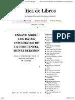 Ensayo sobre los Datos Inmediatos de la Conciencia, Henri Bergson | Crítica de Libros