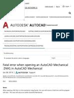 Fatal Error When Opening an AutoCAD Mechanical