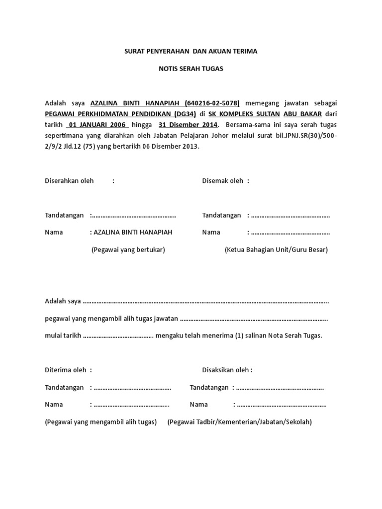 Surat Penyerahan Tugas Doc