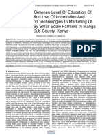 Relationship Between Level of Education of Farmers and Use of Information and Communication Technologies in Marketing of Farm Produce by Small Scale Farmers in Manga Sub County Kenya