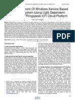 The Development of Windows Service Based Data Log System Using Light Dependent Resistor and Thingspeak Iot Cloud Platform