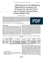 Analysis of the Effectiveness of Tax Billingusing a Letter of Reprimand in Increasing the Acceptance of Income Tax Year 2011 2014 Agency Study on Taxation Service Offices Pratama Medan East