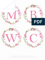 Printable Wedding Floral Banner Pink