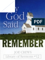 Why God Said Remember - Joe Crews