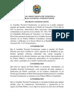 Decreto constituyente que ratifica en su cargo al Presidente Nicolás Maduro
