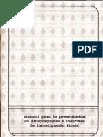 Manual Para La Presentación de Anteproyectos y Tesis