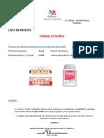 Lista de Precios Risam Laboratorio Dental