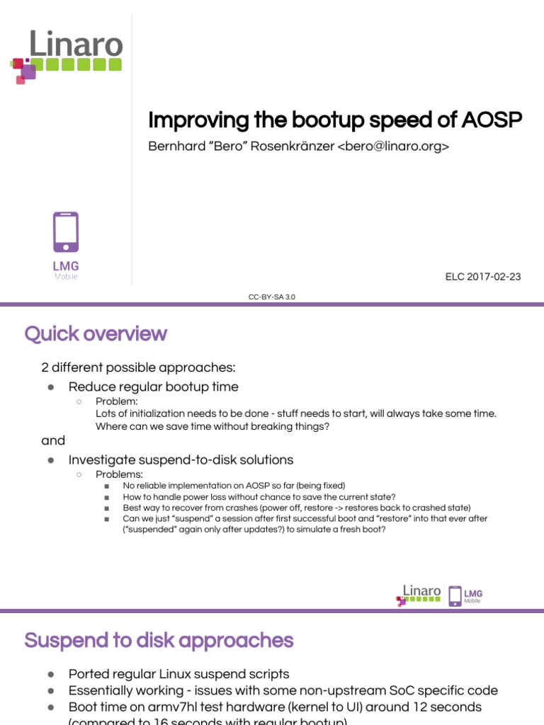 ELC17 - Improving the Bootup Speed of AOSP | Booting | Android