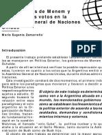 Los gobiernos de Menem y Duhalde y los votos en la Asamblea General de Naciones Unidas - Maria Eugenia Zamarreño