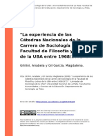 Ghilini, Anabela y Gil Garcia, Magdalena (2008). La Experiencia de Las Catedras Nacionales de La Carrera de Sociologia en La Facultad de (..)