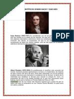 Los 20 Científicos Donde Nacio y Que Hizo