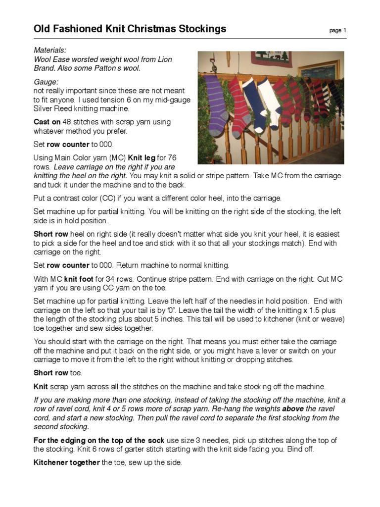 20140618-Machine-Knit-Christmas-Stocking-pattern.pdf | Knitting | Crafts