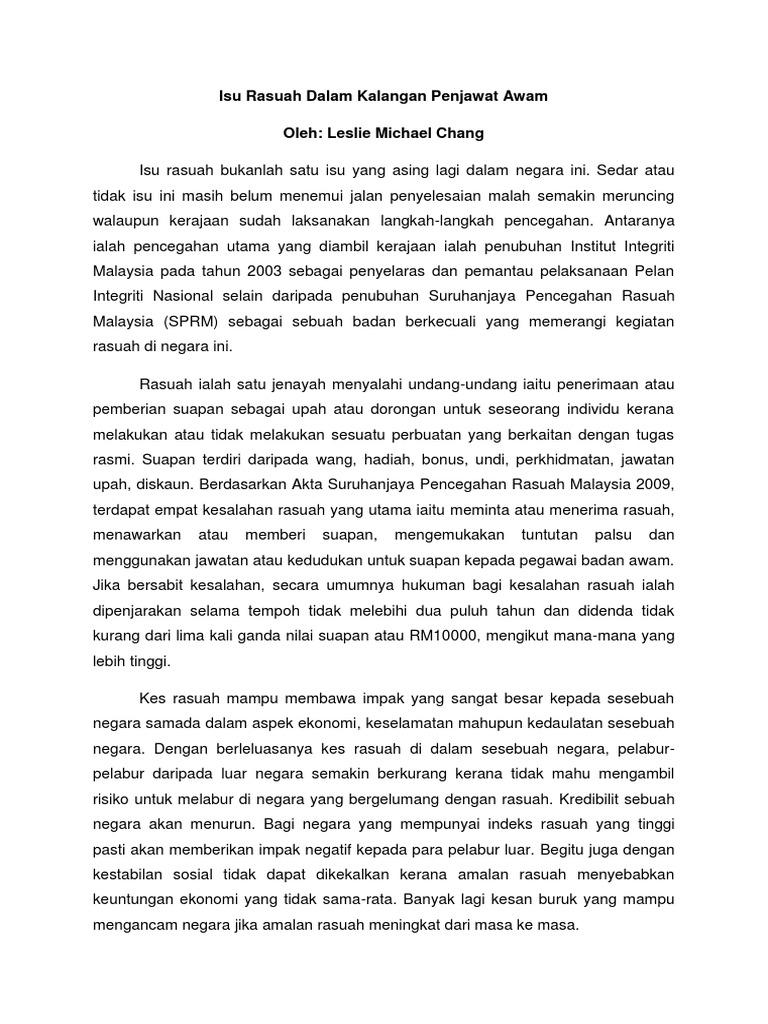 Isu Rasuah Di Malaysia
