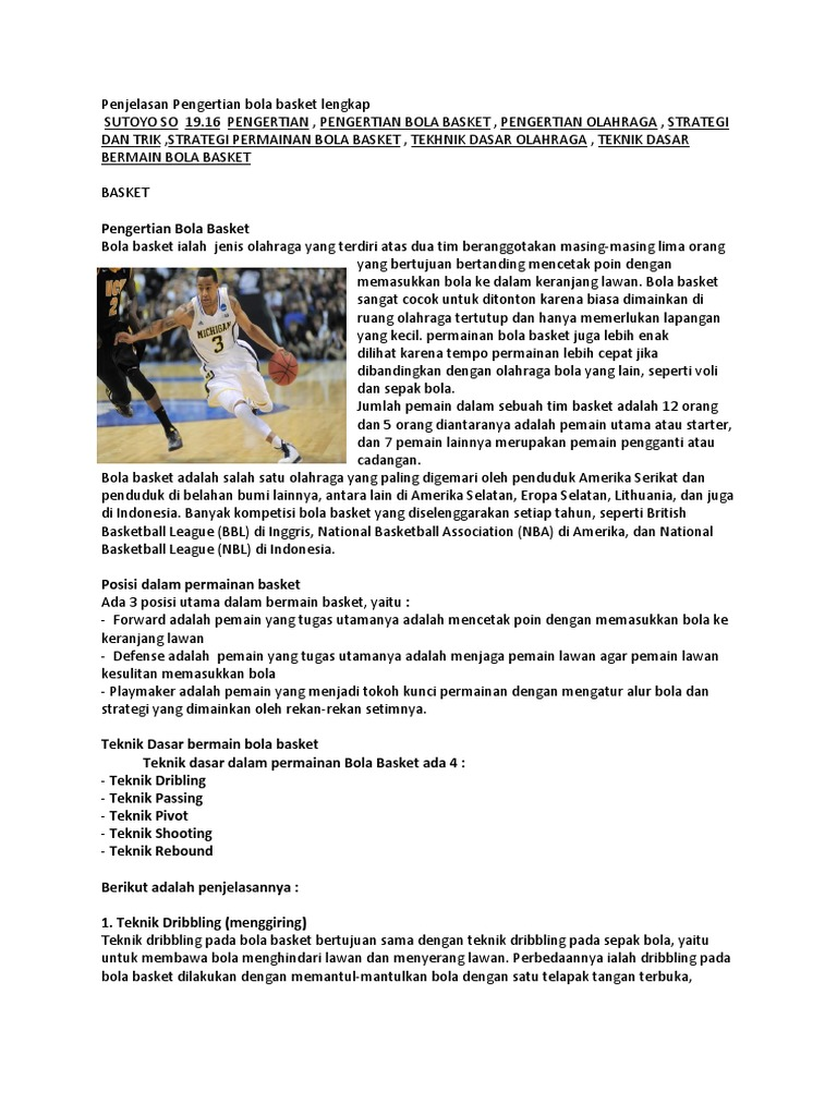 Sebut Dan Jelaskan Teknik Dasar Bola Basket Sebutkan Itu