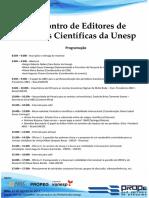 Programacao i Encontro de Editores de Revistas Cientificas Da Unesp