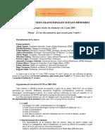 GROUPE D'ÉTUDES TRANSVERSALES SUR LES MÉMOIRES Compte rendu du séminaire du 3 juin 2009