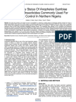 Susceptibility Status of Anopheles Gambiae Complex to Insecticides Commonly Used for Malaria Control in Northern Nigeria