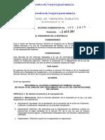 ACUERDO GUBERNATIVO 172-2017. GUATEMALA.