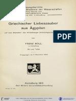 Boll, Griechischer Liebeszauber Aus Ägypten Auf Zwei Bleitafeln Des Heidelberger Archäologischen Instituts (1910)