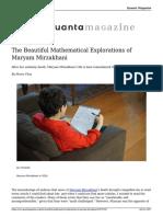 The Beautiful Mathematical Explorations of Maryam Mirzakhani