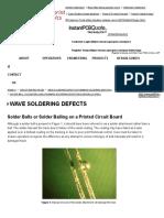 Solder Balls or Solder Balling on a PCB - Wave Soldering Defects