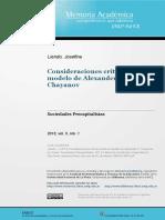 Consideraciones Críticas Sobre El Modelo de Alexander v. Chayanov