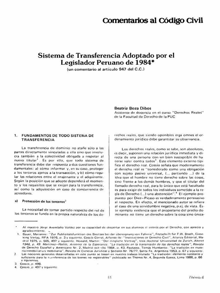 Comentarios Al C U00f3digo Civil  Sistema De Transferencia
