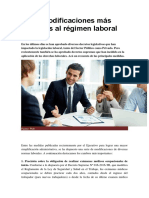 Las 9 Modificaciones Más Recientes Al Régimen Laboral