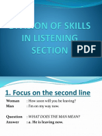Division of Skills in Listening Section