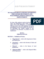 Rules and Regulations Governing Private Recruitment and Placement Agency for Local Employment