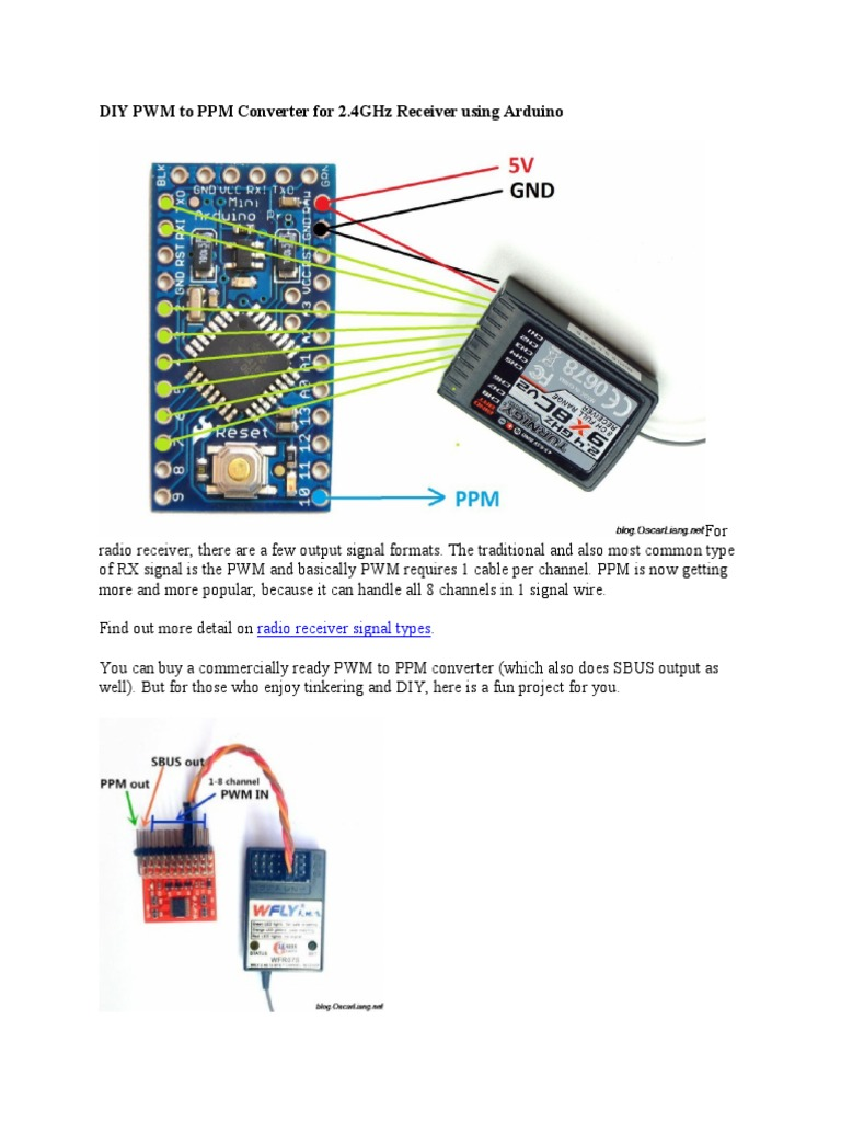 DIY PWM to PPM Converter for 2 4GHz Receiver   Arduino   Areas Of
