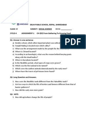 Assignment L 3 History Gathering To Growing Food Pdf Neolithic Agriculture