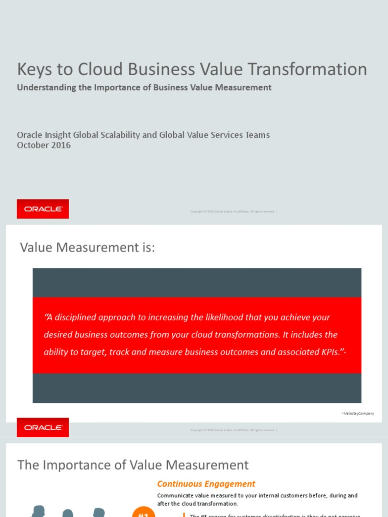 Oracle Cloud Business Value Transformation Business Value Performance Indicator