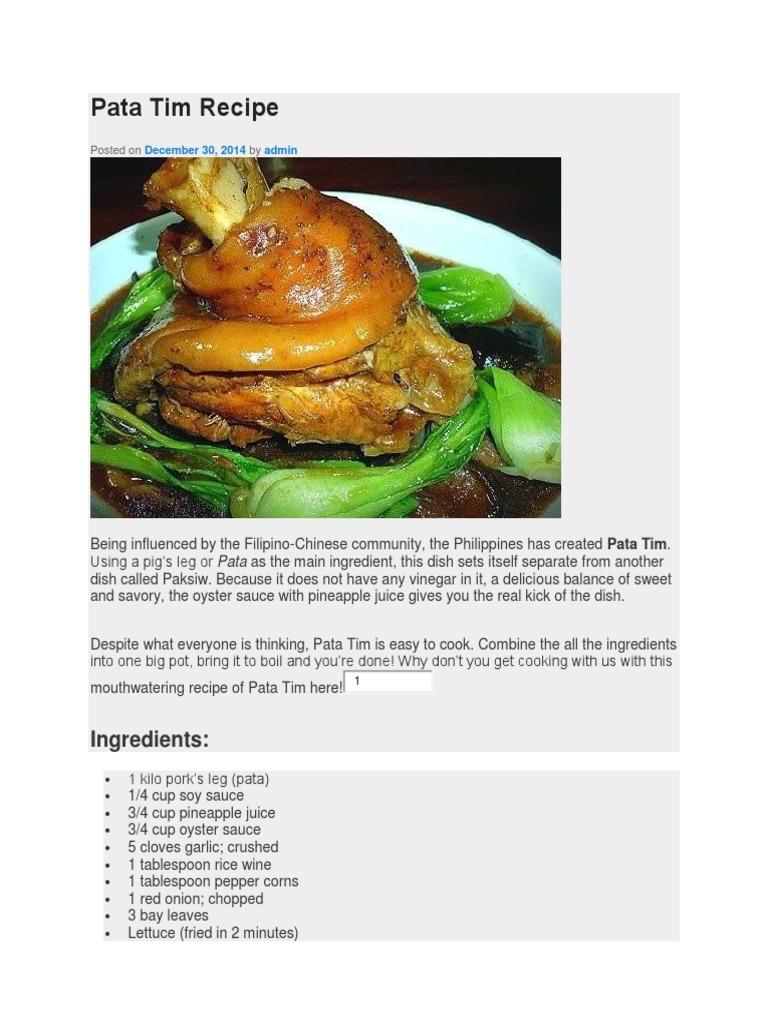 Pata Tim Recipe Ingredients