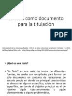 La Tesis Como Documento Para La Titulación
