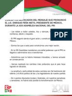 13-08-17 CONCEPTOS DESTACADOS DEL MENSAJE QUE PRONUNCIÓ EL LIC. ENRIQUE PEÑA NIETO, PRESIDENTE DE MÉXICO, DURANTE LA XXII ASAMBLEA NACIONAL DEL PRI