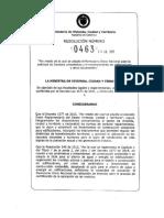 RESOLUCIÓN No. 463 de 2017 (Formulario Unico Nacional y Formato de Revision)