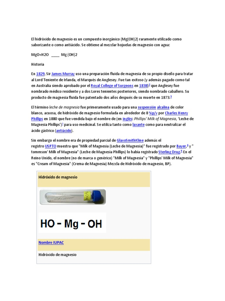 hidroxido de magnesio formula estructural