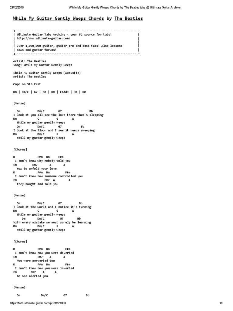 While My Guitar Gently Weeps Chords by The Beatles Tabs at ...