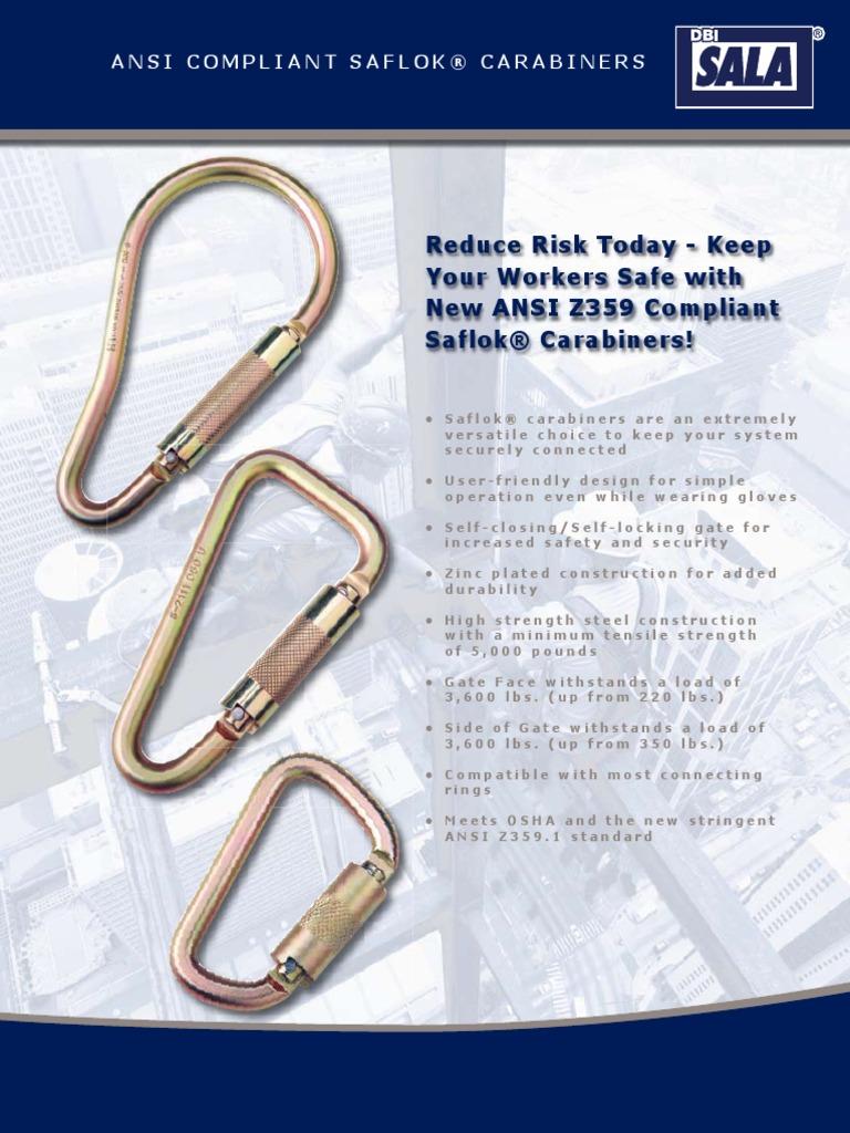 3//16 Saflok Self-Closing//Locking Steel Carabiner WIth 3600 Pound Gate