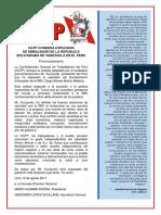 Cgtp Condena Expulsion de Embajador de La Republica Bolivariana de Venezuela en El Peru