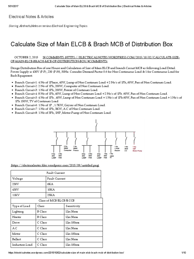 Calculate size of main elcb brach mcb of distribution box calculate size of main elcb brach mcb of distribution box electrical notes articles electric current watt asfbconference2016 Image collections