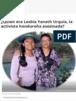 ¿Quién Era Lesbia Yaneth Urquía, La Activista Hondureña Asesinada